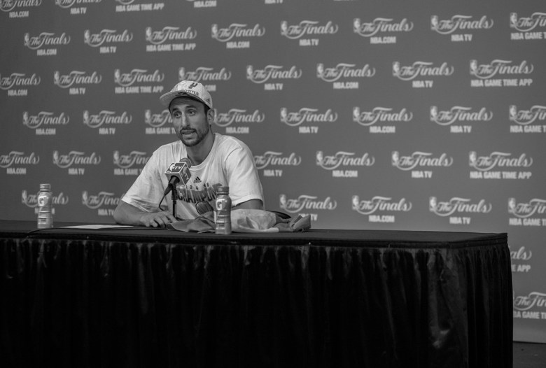 Manu Ginobili addresses media after the Spurs' win of the 2014 NBA Finals. Photo by Scott Ball.