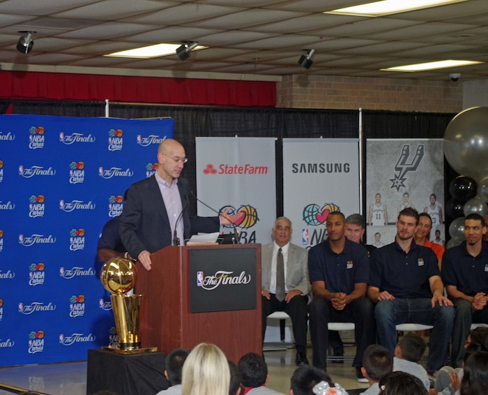 NBA Commissioner Adam Silver addresses the crowd at a press conference announcing a new Spur-sponsored Learn and Play Center at Bowden Elementary School on June 6, 2014. Photo by Juan Garcia.