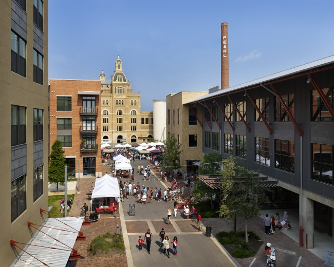 The Pearl Brewery complex. Photo courtesy of Lake/Flato Architects.