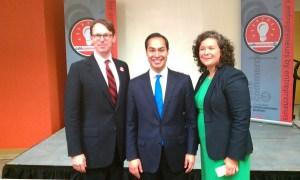 Café Commerce President Peter French, Mayor Julian Castro, and Accion Texas Chief Program Officer Celina Peña