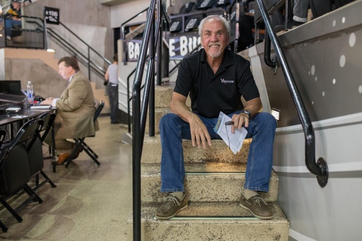 Longtime Spurs fan Richard Yeargain sits in his turf at the AT&T Center for Game 1 of the 2014 NBA Finals. Photo by Scott Ball.