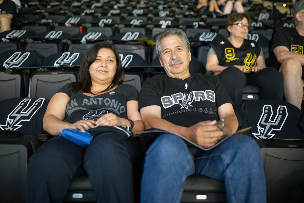 Season ticket holders Cynthia and Nick Munoz arrive early for Game 1 of the 2014 NBA Finals. Photo by Scott Ball.