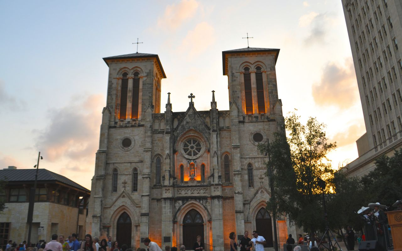 """Just before the opening night of """"The Saga"""" video art installation on San Fernando Cathedral in Main Plaza. Photo by Iris Dimmick."""