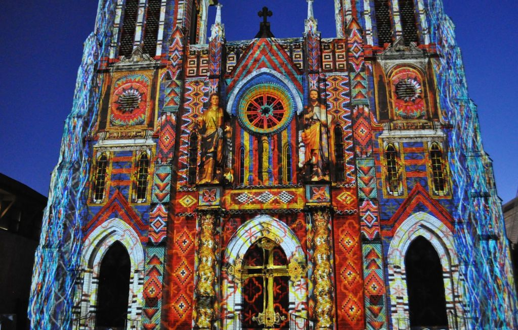 "The opening night of ""The Saga"" video art installation on San Fernando Cathedral in Main Plaza. Photo by Iris Dimmick."