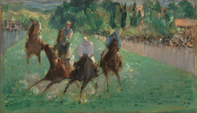 Edouard Manet, At the Races, ca. 1875. Oil on wood. National Gallery of Art, Washington, DC, Widener Collection.