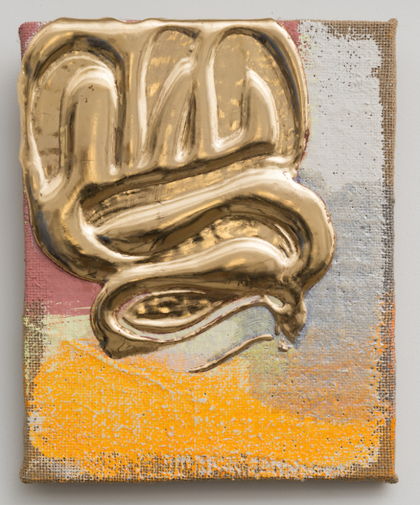 Nancy Lorenz, Red Gold Pour, 2013. Gesso, gilder's clay, red gold leaf, and pigment on burlap, 10 × 8 in. Collection of Lucy Schwalbe. Photo courtesy of the artist.