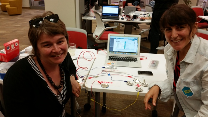 Karen Smith and Julia Vallera from Mozilla try out the Makey-Makey