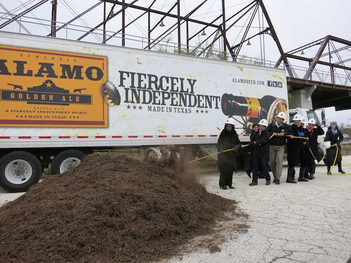 The keg pull at the construction site for the $8 million, 18,000-square-foot Alamo Beer Co. brewery just south of the Hays Street Bridge. Photo by Miriam Sitz