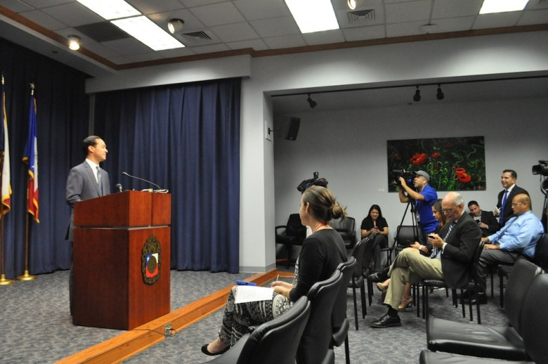 Mayor Julián Castro addresses local media after his official appointment as the next Secretary of Housing and Urban Development on July 9, 2014 after a 71-26 Senate vote. Photo by Iris Dimmick.