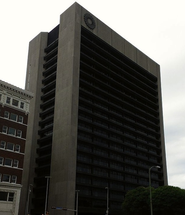 Front Bank Tower in downtown San Antonio at 100 W Houston St. Public domain image.