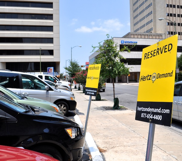 Hertz On Demand parking spots reserved in a LAZ Parking lot across from the Weston Centre. Photo by Iris Dimmick.