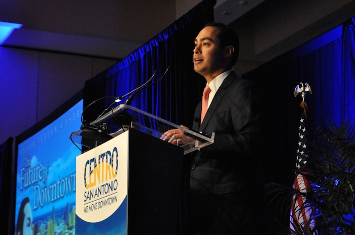 """Julián Castro addresses a packed ballroom during Centro San Antonio's """"The Future of Downtown"""" luncheon. July 10, 2014. Photo by Iris Dimmick."""