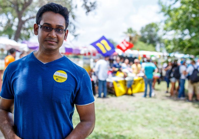 "Human Rights Campaign volunteer Dilshan Edussuriya at the 2014 Pride ""Bigger Than Texas"" Festival. Photo by Scott Ball."