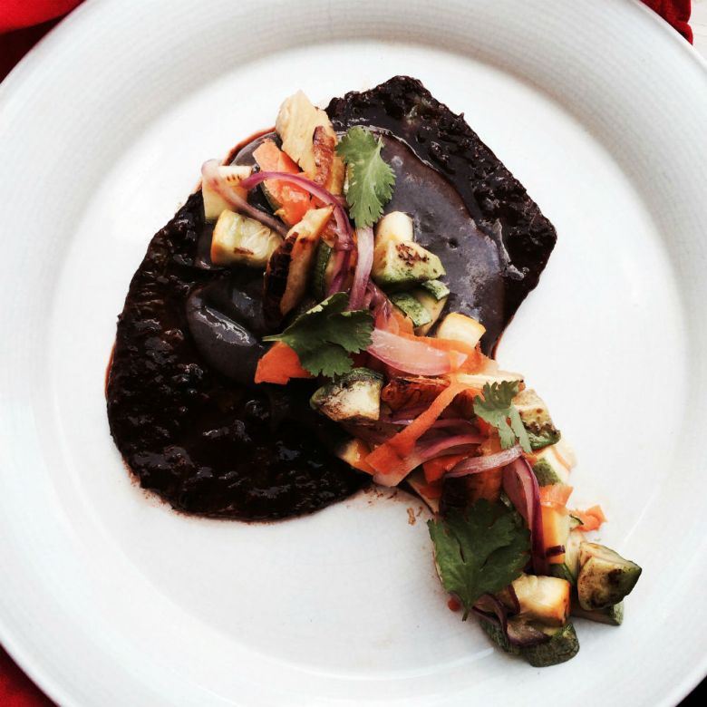 A chile-marinated nopal steak, with black bean puree and plantains, a dish that may be available at Rebel Mariposa's pop-up restaurant on July 18. Courtesy photo.
