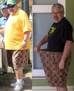 One year, 100 pounds, same shorts.