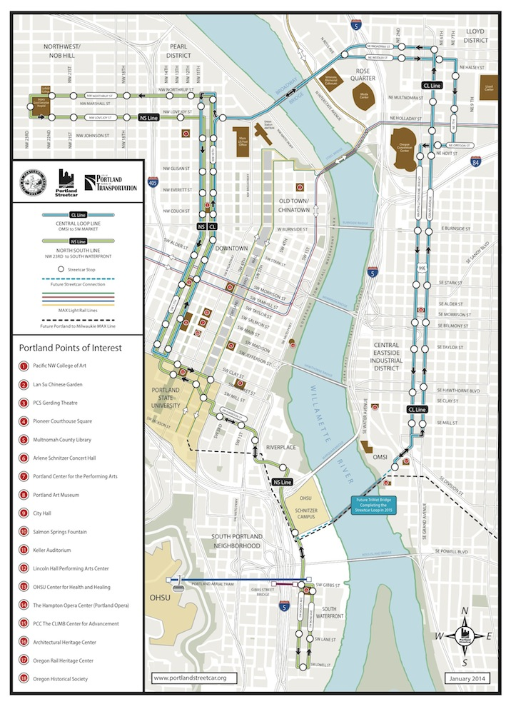 Portland Streetcar route map. Click here for a larger version.