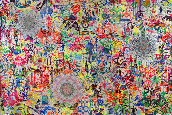 Ryan McGinness, The Lazy Logic of Ignava Ratio, 2009. Acrylic on canvas, 96 x 144 in. Collection of Pamela K. and William A. Royall Jr. Photo courtesy of Ryan McGinness Studios, Inc./Art Resource, NY. © 2014 Ryan McGinness/Artists Rights Society (ARS), New York.