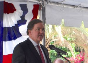 Bruce Bugg, chairman of the Bexar County Performing Arts Center Foundation, speaks before the unveiling of the Medal of Honor River Portal connecting the San Antonio River to the Tobin Center for the Performing Arts July 3, 2014. Photo by Iris Dimmick.