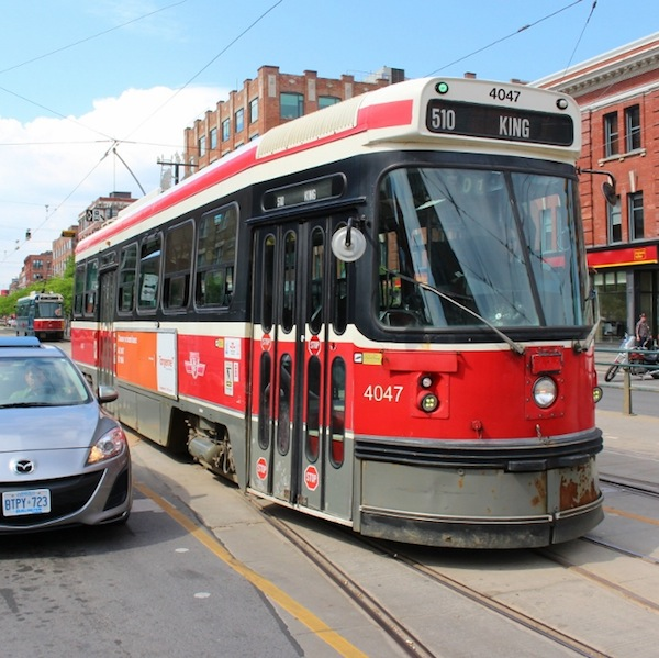 A streetcar awaits a green light in Vancouver. Photo by Page Graham.