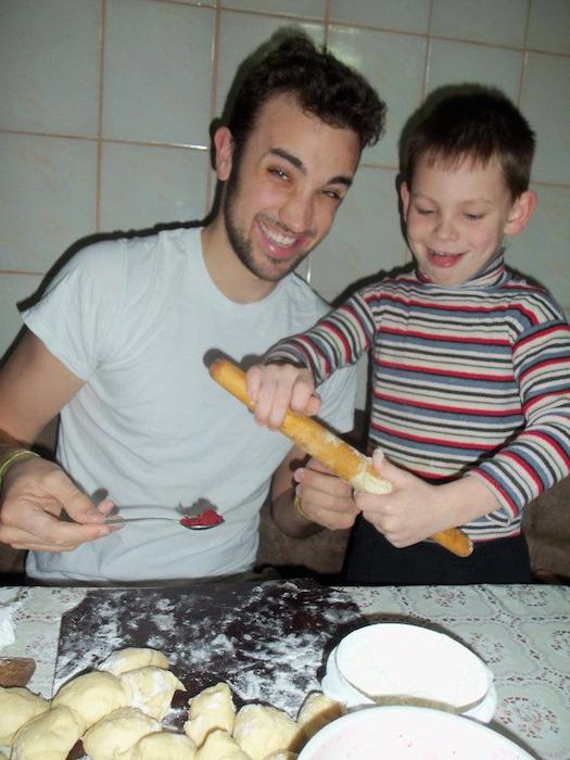 Fixing a dumpling delicacy with my patient and lovable nephew, Maksim. Photo courtesy of Adam Tutor.