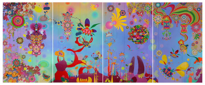 Jose Alvarez (D.O.P.A.), We Came From the Stars, 2011. Acrylic, enamel, ink, colored pencil, organdy, feathers, quills, crystals, and mixed media on ultrachrome prints, 72 × 176 in. Collection of the McNay Art Museum, Museum purchase with funds from the McNay Contemporary Collectors Forum.