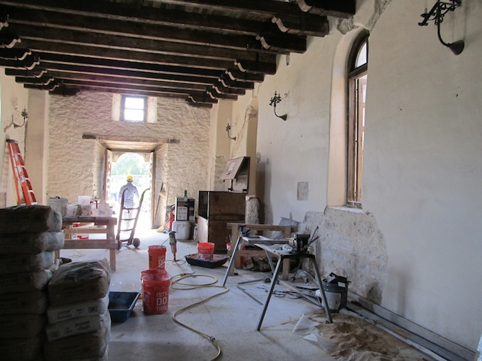 Pews and other furnishing were removed from the church at Mission Espada shortly after Easter to stabilize and repair cracking walls. Photo by Carol Baass Sowa.