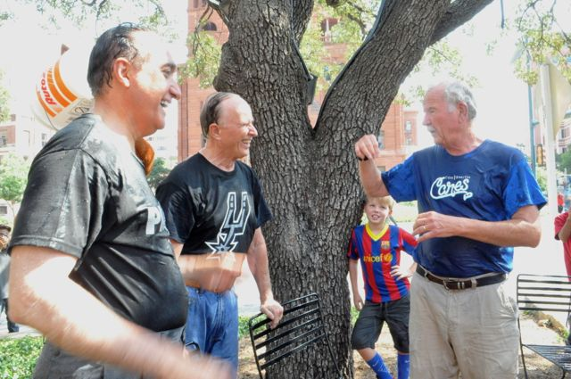 From left: Former Mayor Henry Cisneros, Bexar County Judge Nelson Wolff and former Mayor Phil Hardberger laugh together after completing the ice bucket challenge. Photo by Iris Dimmick.