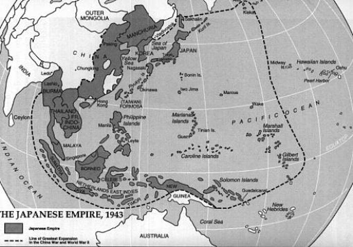 Map of the Japanese Empire at its height in 1943.