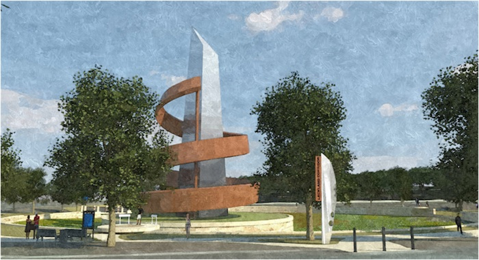 As part of The Lackland Master Plan, a monument is planned at the main entrance. Courtesy rendering via RVK Architects.