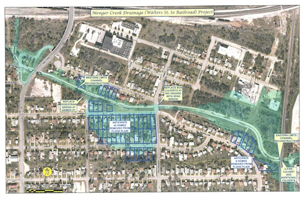 The Menger Creek drainage and linear creek project map.