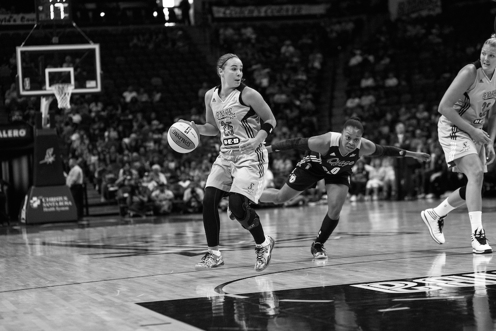 San Antonio Star Becky Hammon reads the court during a recent WNBA game at the AT&T CenterPhoto by Scott Ball.