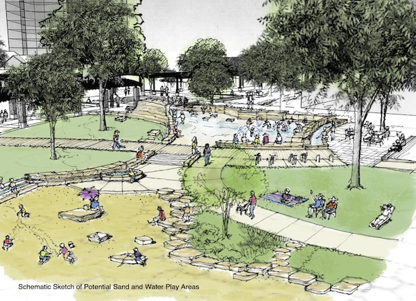 Rendering of potential sand and water play area at Yanaguana Garden. Courtesy Rendering.