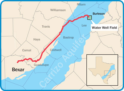 142 Miles of pipeline will transport water from  Burleson County to San Antonio. Image courtesy of SAWS.