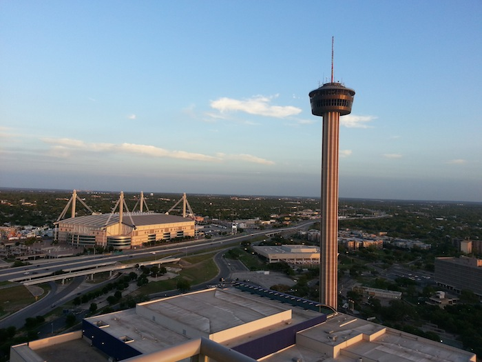 The Tower of Americas and the Alamodome at Sunset. Photo by Melissa Burnett.