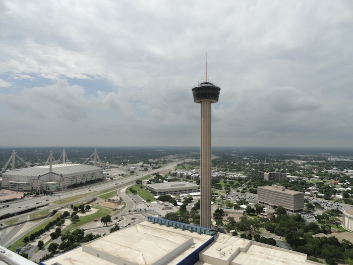 The Tower of Americas and the Alamodome.