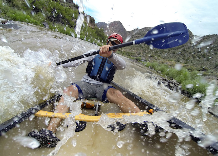 PILAR, NM - Erich Schlegel maneuvers his canoe through the Racecourse section of the Rio Grande River near Pilar, New Mexico. JULY 19, 2014. CREDIT: Erich Schlegel/Disappearing Rio Grande Expedition