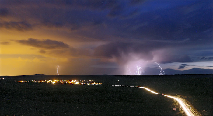 COCHITI PUEBLO, NM - Monsoon thunderstorms roll and lightning strikes near Cochiti Pueblo, New Mexico. JULY 27, 2014: CREDIT: Erich Schlegel/Disappearing Rio Grande Expedition