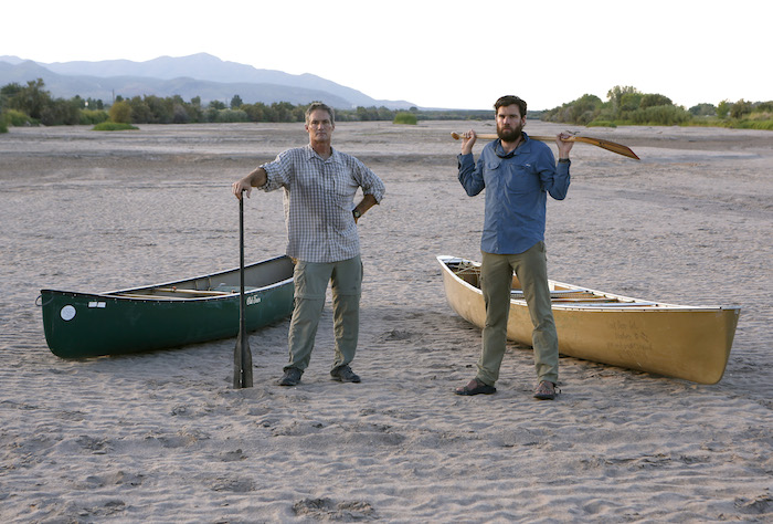 LAS CRUCES, NM - Erich Schlegel, photojournalist, left, and writer Colin McDonald in the dry Rio Grande River in Las Cruces, New Mexico. SEPTEMBER 8, 2014: CREDIT: Erich Schlegel/Disappearing Rio Grande Expedition
