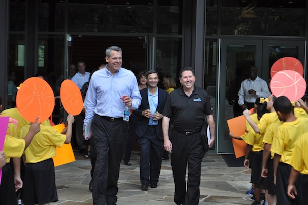 From left: Chairman of this year's NCAA Commmittee Scott Barnes, Convention, Sports and Entertainment Facilities Director Michael Sawaya, and San Antonio Sports CEO Ross Bookbinder enter the courtyard of the Briscoe Western Art Museum. Photo by Iris Dimmick.