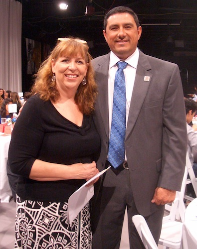 East Central ISD's Pattie Reyes and Superintendent Roland Toscano at the Constitution Café event hosted by KLRN. Photo by Lily Casura.