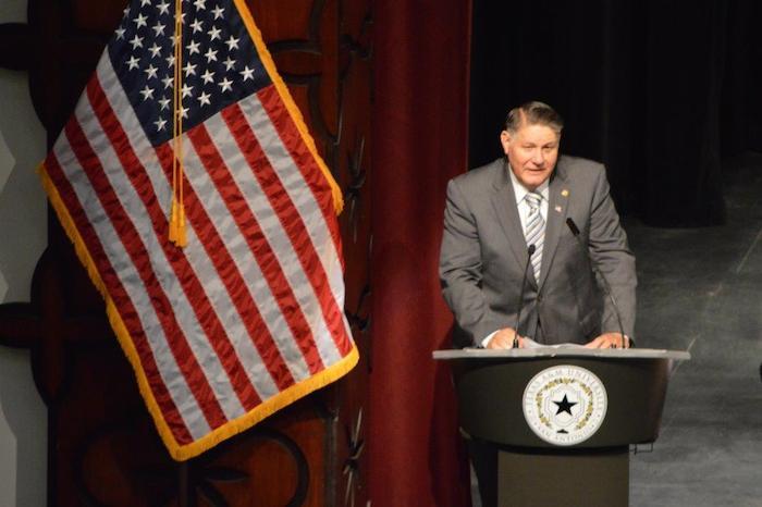 Rep. Joe Farias speaks at A&M-SA Central Academic Building dedication. Photo courtesy of A&M-SA.