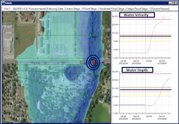 A floodplain map produced by FloodWorks software.