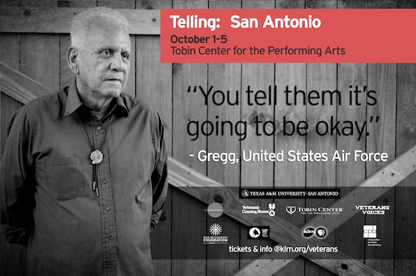 regg Barrios, a veteran of the U.S. Air Force and a San Antonio cast member of the Telling Project, will tell his story about war and integration at the Tobin Center, Oct. 1-5. Image courtesy of KLRN.