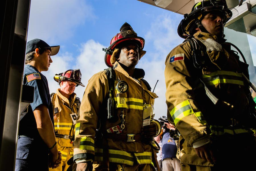 First responders honor those that lost their lives on September 11 during the second annual San Antonio 110-9/11 Memorial Climb. Photo by Scott Ball.