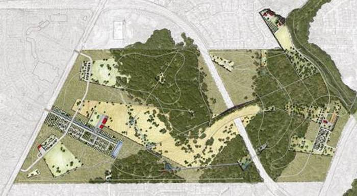 A map of Harderber Park East and West. Image courtesy of Phil Hardberger  Park Conservancy.