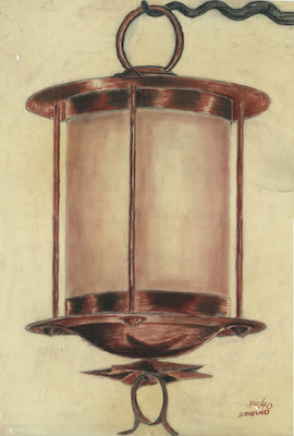 """A student-designed lamp for La Villita, 1940. mage from the exhibit, """"Education by Design: Drawings from the Collection of Ford, Powell & Carson, 1939-1970"""" at Trinity University."""