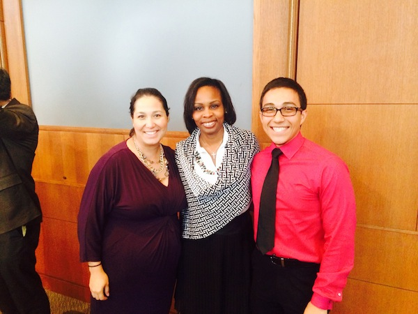 From left: District 7 Councilmember Mari Aguirre-Rodriguez, Mayor Ivy Taylor, and District 7 intern and resident Matthew Baiza. Courtesy photo.
