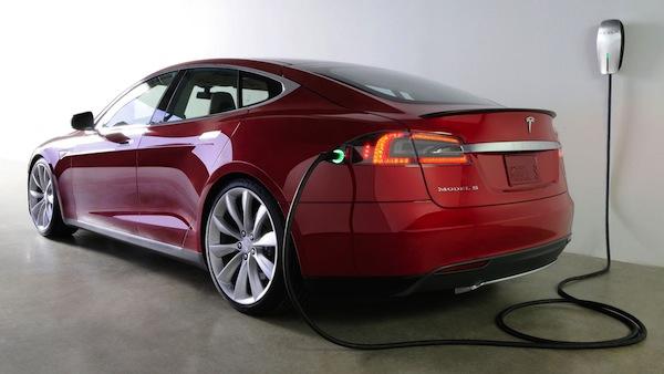 A charging Tesla Model S. Photo courtesy of Tesla Motors.