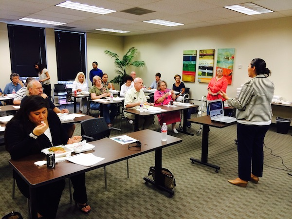 District 7 Councilmember Mari Aguirre-Rodriguez speaks at her first meeting with 30 neighborhood association presidents to discuss the City's budget. Courtesy photo.