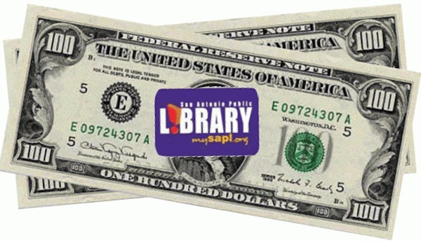 Library cash graphic by Gayle Brennan Spencer.